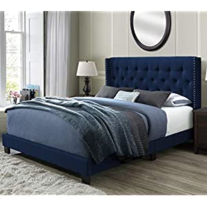 DG Casa 12850-Q-GRNV Bardy Diamond Tufted Upholstered Wingback Panel Bed Frame