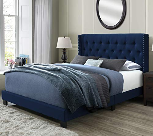 DG Casa 12850-Q-BLUV Bardy Diamond Tufted Upholstered Wingback Panel Bed Frame, Queen Size in Blue Faux Velvet Fabric