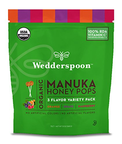 Wedderspoon Organic Manuka Honey Pops for Kids, Variety Pack, 75 Count, Unpasteurized, Genuine New Zealand Honey, 100% RDA Vitamin - Honey Lozenges 75