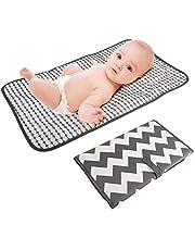 LEADSTAR Bärbar blöjbytesmatta, blöjbytesdyna med huvudkudde, vattentät hopfällbar spädbarn baby skötbädd kit för hem resor utomhus, 40 x 70 cm