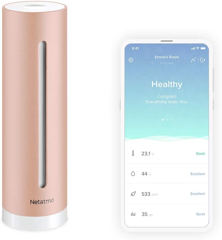 Netatmo Healthy Home Coach Indoor Air Quality Monitor Wall Mount for Rain and Wind Gauge, Black