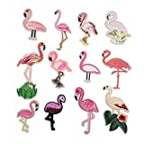 Niangzisewing Assorted Mix 12pcs Flamingo Iron on Patches sew on Patches Jeans Jackets Hats Bags Backpacks Motif Patch Lots (Flamingo, from 2' to 5')