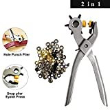 101 Pcs Eyelet Punch Pliers and Eyelets Snap Pliers (2 in 1) with 100 Eyelets for Leather Fabric Clothes Crafts Card Rubber - Eyelet Snap/Press Pliers Tool - 5 Hole Revolving Belt Hole Punch Pliers
