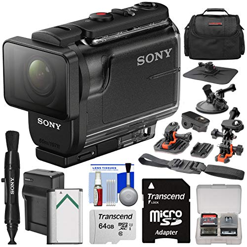 Sony Action Cam HDR-AS50 Wi-Fi HD Video Camera Camcorder with 64GB Card + Battery & Charger + Case + Car Suction Cup & Dashboard Mounts + Kit