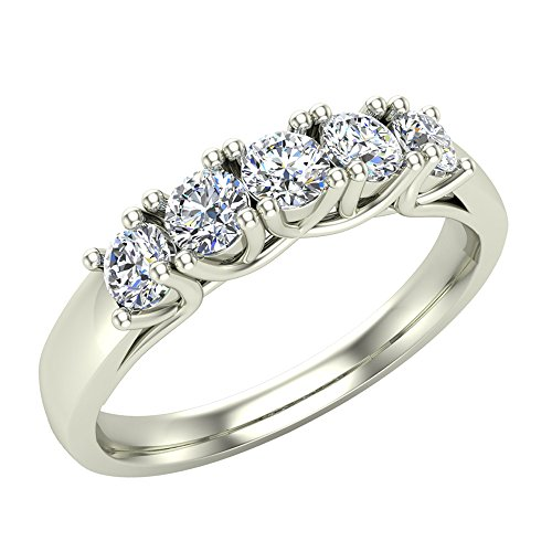 (Wedding band Five Stone Diamond Ring Round Brilliant Cut w/Trellis Setting 0.50 carat total weight 14K White Gold (Ring Size 6))