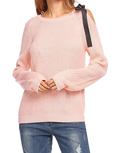 Elever Women's Open Shoulder Pullover Long Sleeve Bow Tie Knit (Pink Bow Knit Sweater)