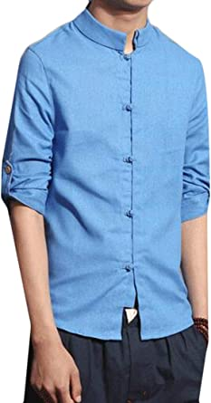 FRPE camisa china de manga 3/4 con cuello alto de lino con ...