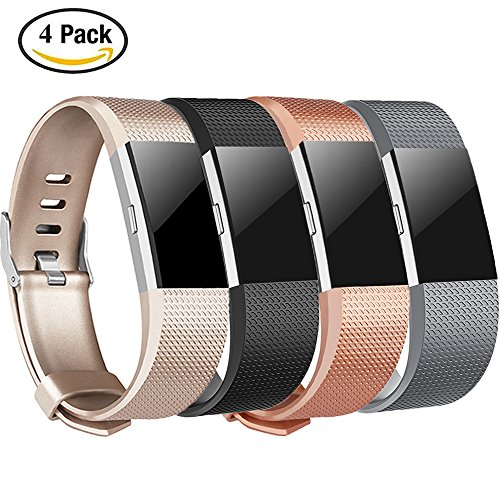 Tobfit Sport Silicone Bands Compatible for Fitbit Charge 2 Classic & Special Edition, 4 Pack, Black/Champagne/Rose Gold/Grey, Small
