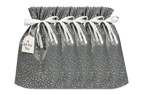 Medium Premium Fabric Gift Bags (Pack of 5) Organza with Lining Satin Ribbon Holiday Christmas - Grey Polka Dot Print - 18.5