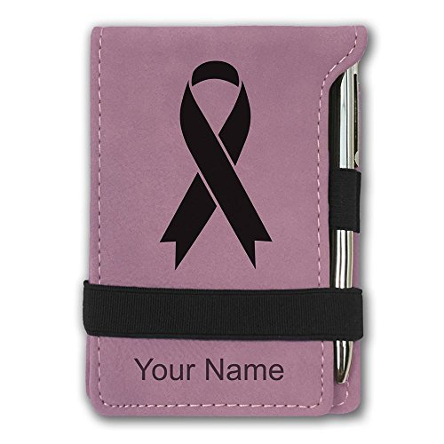 Mini Notepad, Cancer Awareness Ribbon, Personalized Engraving Included (Pink)