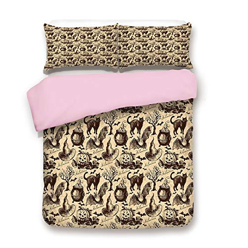 Witch Ultimate Hat Black - Pink Duvet Cover Set,Twin Size,Symbols of Halloween Witch Hat Cauldron Fall Jack o Lantern Black Cat Decorative,Decorative 3 Piece Bedding Set with 2 Pillow Sham,Best Gift For Girls Women,Light Brown