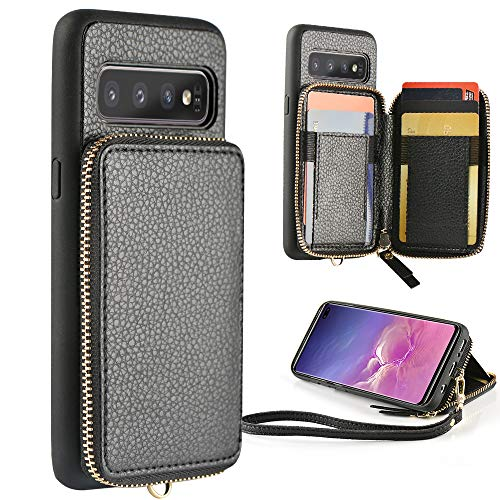 S10 Cases Bags - ZVE Samsung Galaxy S10 Plus Wallet Case Galaxy S10+ Case with Credit Card Holder Zipper Wallet Case Handbag Purse Shockproof Case Cover for Samsung Galaxy S10 Plus (2019), 6.4 inch - Black