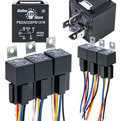 6 Pack - OLS 12V DC 40/30 Amp 5-Pin SPDT Automotive Relay Harness Set (Bosch Style with Interlocking - Bosch Starter Relay