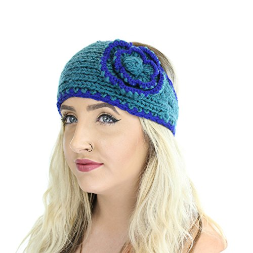 Blue Boho Winter Knit Ear Warmer Head Wrap W/ Flower, Warm Adjustable Headband