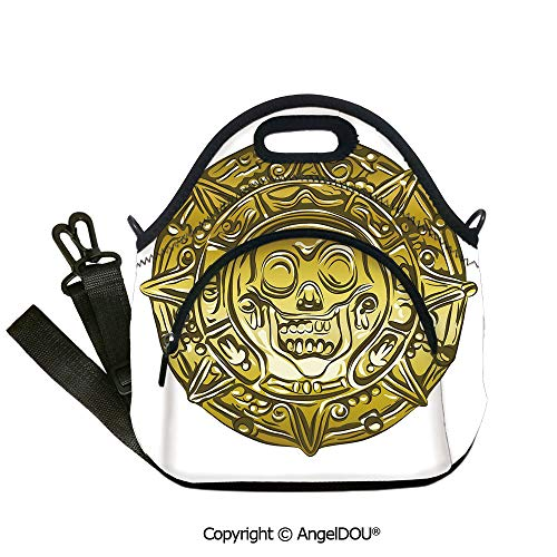 (AngelDOU Pirate portable thickening insulation tape Lunch bag Gold Money Pirate Coin Medallion Scary Skull Figure Ancient Antique Currency Print Decorative for Women Kids Baby Gi12.6x12.6x6.3(inch))