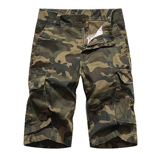 Leegor 2019 Men Summer Survival Loose Fit Cargo Multi Pocket Short Jogger Sport Pants Leisure Camouflage Climbing - Madras Shorts Bermuda Plaid