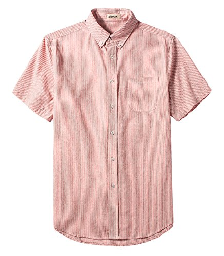(utcoco Men's Casual Spread Collar Regular Fit Pinstripe Short Sleeve Linen Shirts (Large, Pink/White))