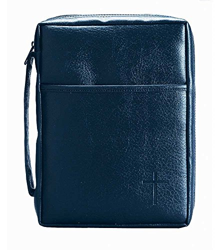 Leather Look Bible Cover (Blue Embossed Cross with Front Pocket Large Leather Look Bible Cover with Handle)