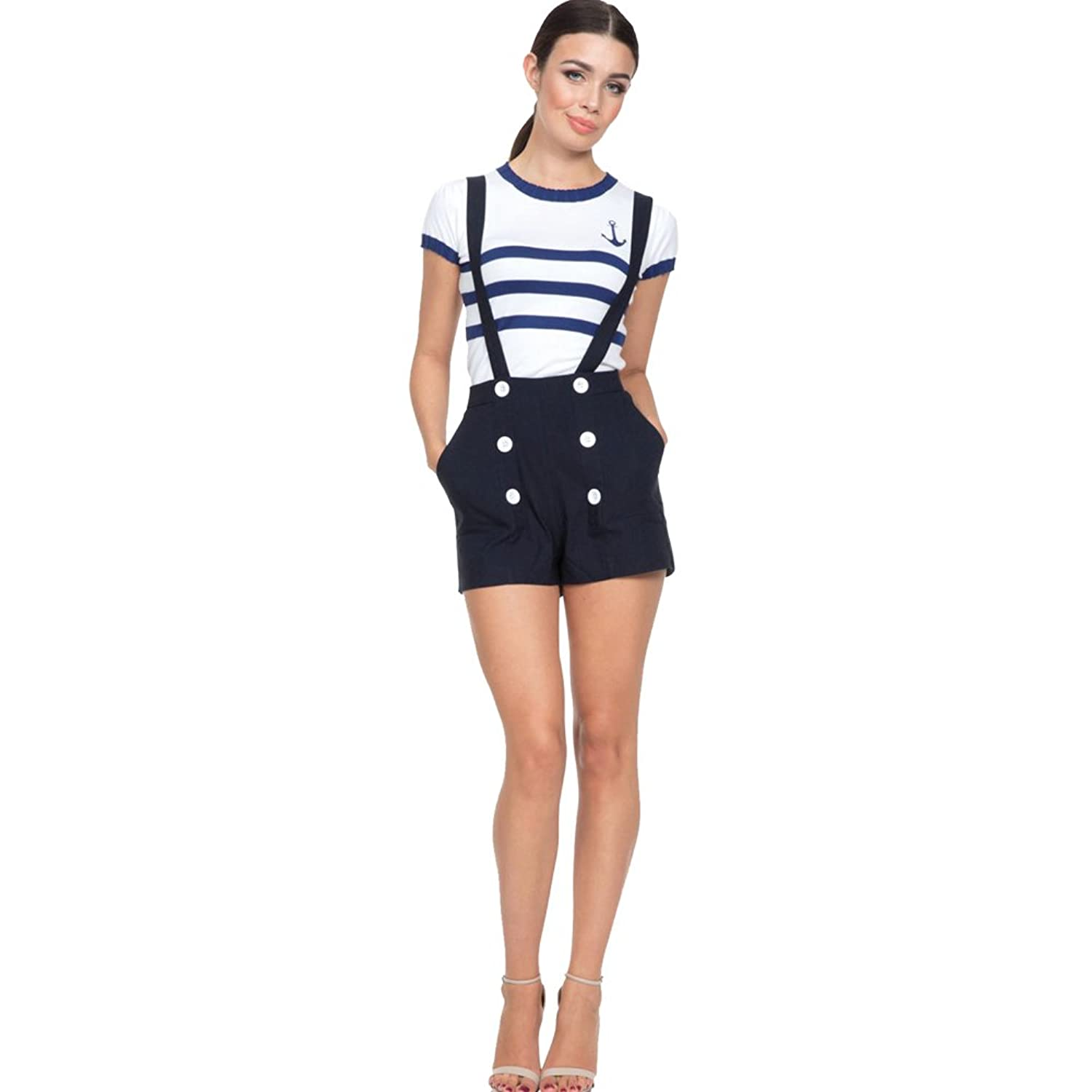 Vintage High Waisted Shorts, Sailor Shorts, Retro Shorts Womens Voodoo Vixen DAISY Nautical Shorts Navy $48.95 AT vintagedancer.com