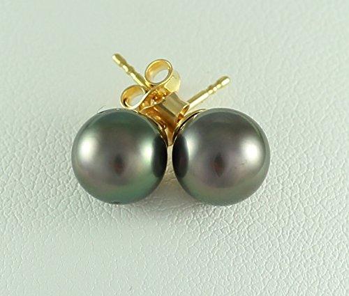 Ocean Black Pearl - Boucles d'oreilles Femme - Perles de culture de Tahiti - 8mm - Or 18 Carats - Bo P33