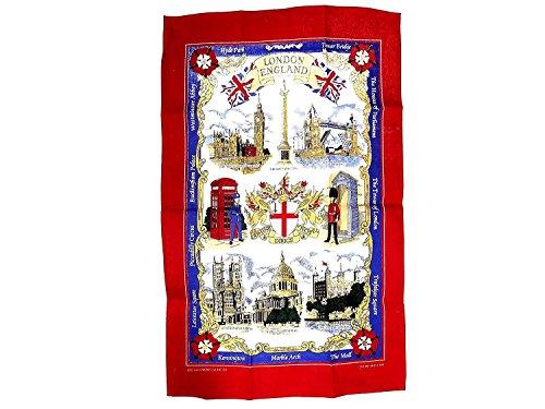 London Souvenir Printed Tea Towel - London England Red