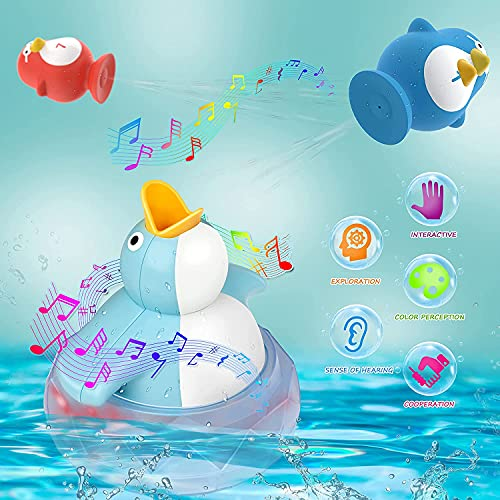 Bath Toys Bathtub Toy for Toddlers Kids 1 2 3 4 Years Old Boys and Girls with Music and LED Lights, Squirting Cute Baby Bath Toy Birthday Gift