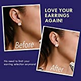 Magic Earring Backs - Our Lifts Will Do Wonders for Your Lobes! 2 Pairs of Adjustable Hypoallergenic Lifters (Sterling Silver & 18K Gold Plated) - Jewelry Pouch & Jewelry Polishing Cloths Included!