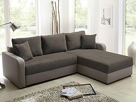 Sofá Malaga 238 x 182 cm marrón diseño de sofá cama sofá de ...