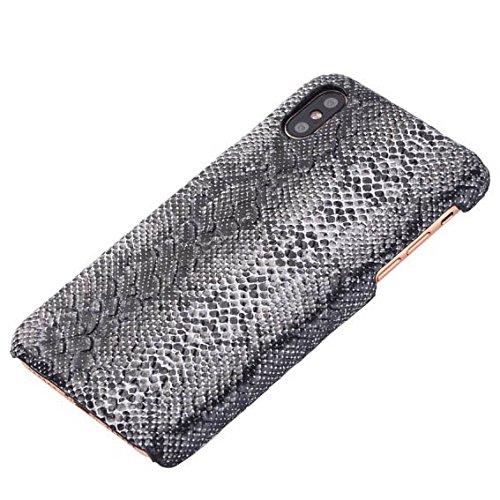 Handyhülle für Apple iPhone X 10 5.8 Zoll | Kunstleder MUSTER Schlange | Schutz Hülle Kartenfach Bumper Kunststoff TPU Hart Dünn Leicht Cover Case
