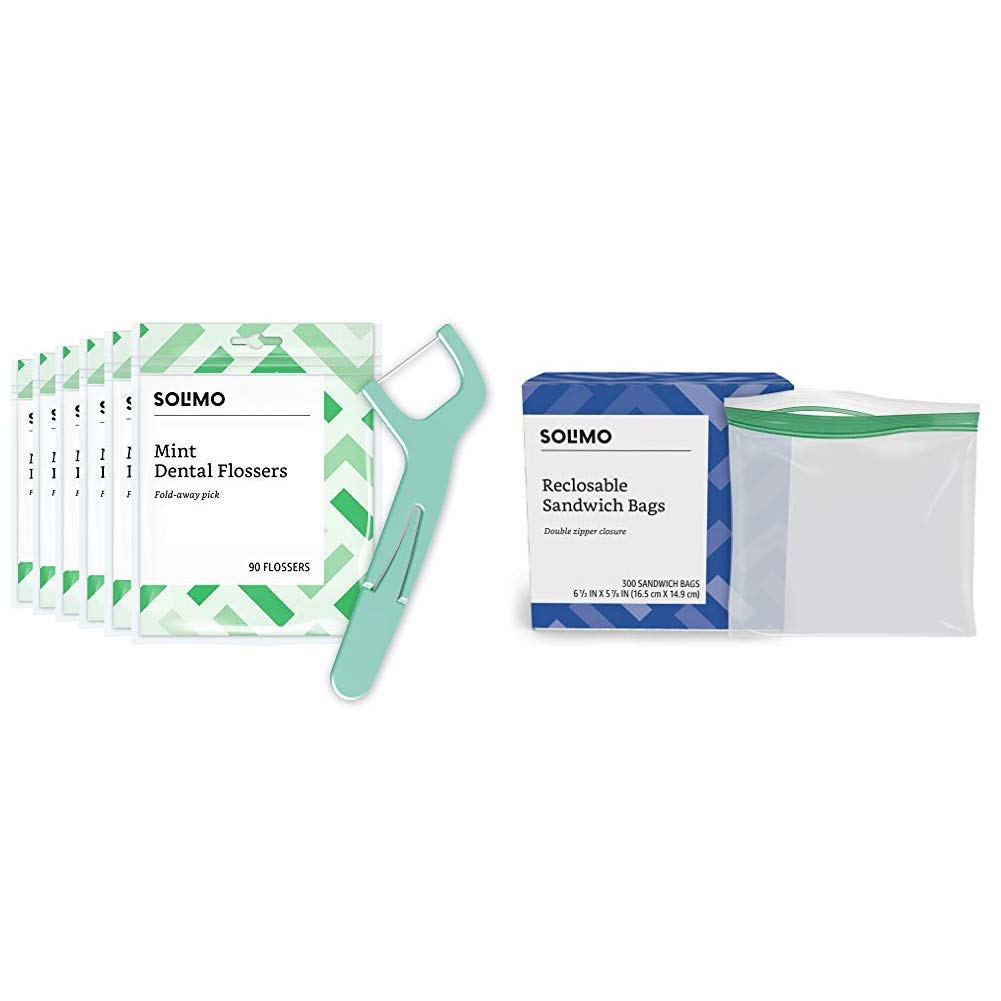 Amazon Brand - Solimo Mint Dental Flossers, 540 Count (6 Packs of 90) & Solimo Sandwich Storage Bags, 300 Count