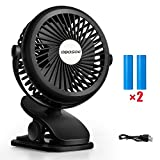 OBOSOE Stroller Fan, Clip on & Desk Personal Small Fan with 360 Degree Rotation, USB Rechargeable Battery Operated Portable Fan for Car, Baby Stroller, Office, Bedroom, Traveling, Camping