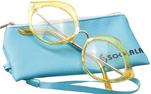 SOOLALA Unique 55mm Lens Cat Eye Reading Glass Stylish Designer Eyeglass Frame, Yellow, ClearLens