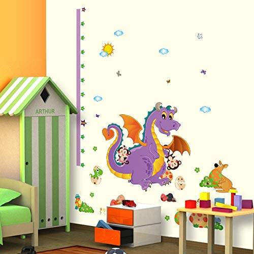 MAGA 1 Cartoon Animals Dinosaur Animals Wall Stickers s Height Measurement Wall Decals Height Growth Chart Ruler Wallpaper Poster (Chart Dinosaur Growth Personalized)