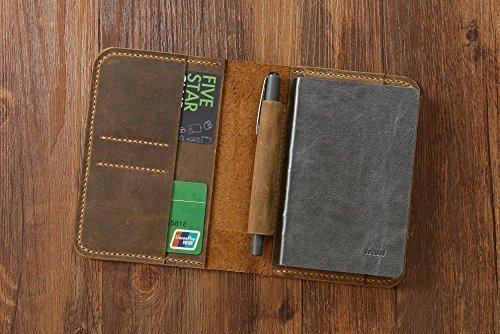 Vintage A6 notebook field notes leather Portfolio cover / distressed leather travel journal cover with card pen slot -NB005S
