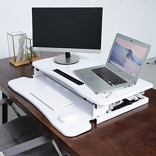 LIULIFE Laptop Stand for Desk Sit Stand Height Adjustable Desk Computer Workstation Standing Desk Converter with Keyboard Tray,White-WithKeyboardBoard by LIULIFE (Image #1)