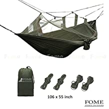 FOME Portable High Strength Parachute Fabric Hammock Hanging Bed With Mosquito Net For Outdoor Camping Travel + FOME Gift