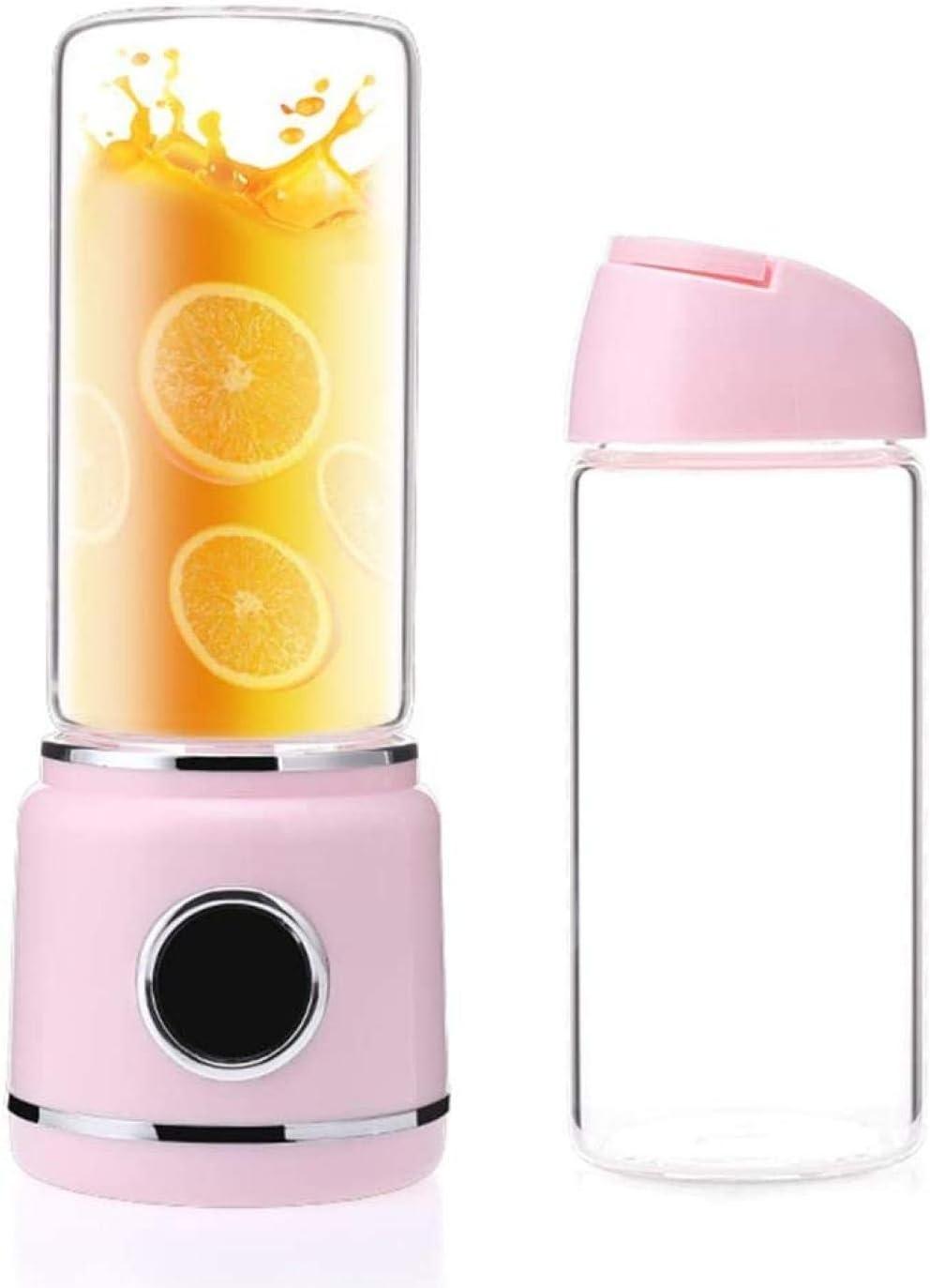ASDASD Licuadora de Jugo portátil con batería Recargable USB 4000Ma Botella de Agua de Viaje al Aire Libre con Banco de energía con Pantalla LED LED Regalo Deportivo de Salud Rosa-Rosado