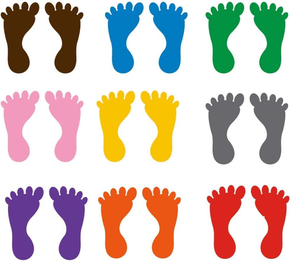 NUOBESTY Footprint Sticker Self-Adhesive Floor Decals for Kids Room Nursery Floor Stairs Decor 9 Pairs Random Color