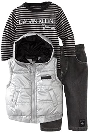 Calvin Klein Baby Boys' Vest With Long Sleeve Tee And Pant, Gray, 12 Months