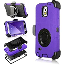 Galaxy Note 3 Case, Note 3 Case, Jwest Shockproof Hybrid Rugged Samsung Galaxy Note 3 Case Rubber Three Layer Holster Cover Case for Samsung Galaxy Note 3 with Built-in Rotating Stand and Belt Swivel Clip Purple