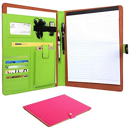 (CORNMI Travel Portfolios, Padfolio Portfolio Case, PU Leather File Folders with 5 Card Slots & Phone/iPad Pockets - Presentation Office Organizer Folder (Business Portfolio Padfolio-Rose))