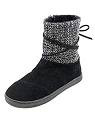 Toms Nepal Boots Black Suede w/ Metallic Wool 10006429 Tiny