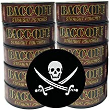 BaccOff - Tobacco Free - Non Tobacco Herbal Chew or Snuff - 10 Cans - Includes DC Skin Can Cover (Straight Pouch) (Jolly Roger Skin)