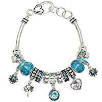 Falari Birthstone Bracelet Multi-Color Charm Beads Silvertone