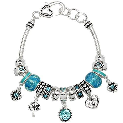 Birthstone Bracelet Multi-Color Charm Beads Silvertone March OB07234-MAR