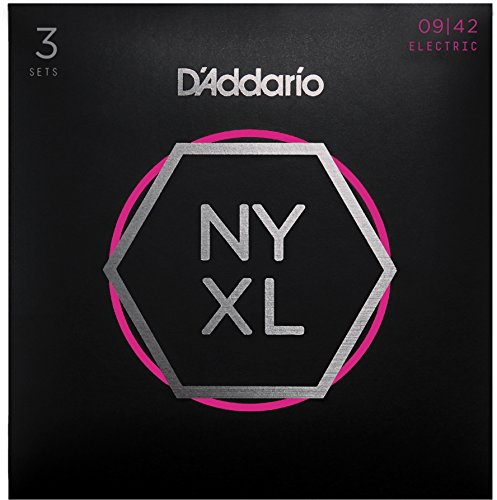 - D'Addario NYXL0942-3P Nickel Plated Electric Guitar Strings, Super Light,09-42 (3 Sets) - High Carbon Steel Alloy for Unprecedented Strength - Ideal Combination of Playability and Electric Tone
