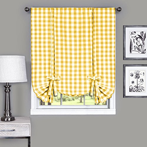 Buffalo Check Plaid Gingham Custom Fit Window Curtain Treatments By GoodGram - Assorted Colors, Styles & Sizes (Tie Up Shade, Yellow)
