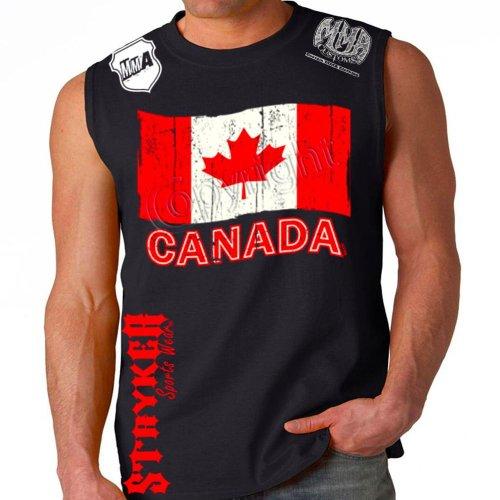Stryker Canada Team Flag Adult Black Sleeveless Muscle Shirt (Medium) - Mma Fight Team