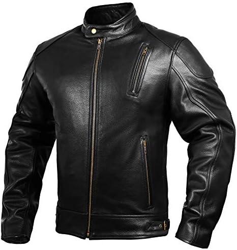 Black Caf\u00e9 Racer 100/% Real Sheepskin Leather Jacket Mens Red Strips Motorcycle