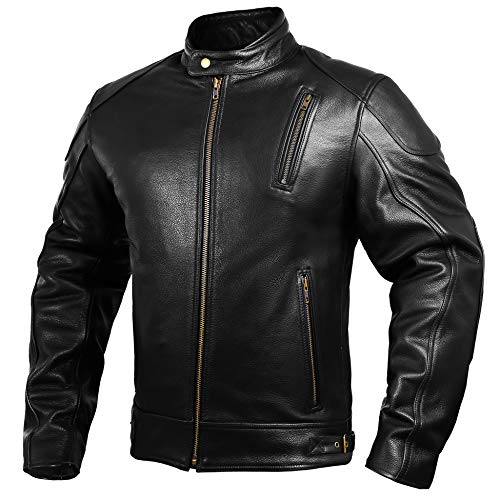 Mens Leather Motorcycle Jackets Black Moto Riding Motorbike Racing Cafe Racer Biker Jacket CE Armored (M)